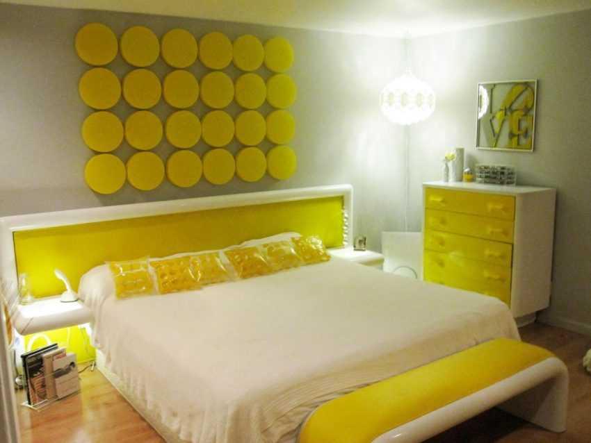 Желтая спальня — фото красивого дизайна спальни в желтых тонах